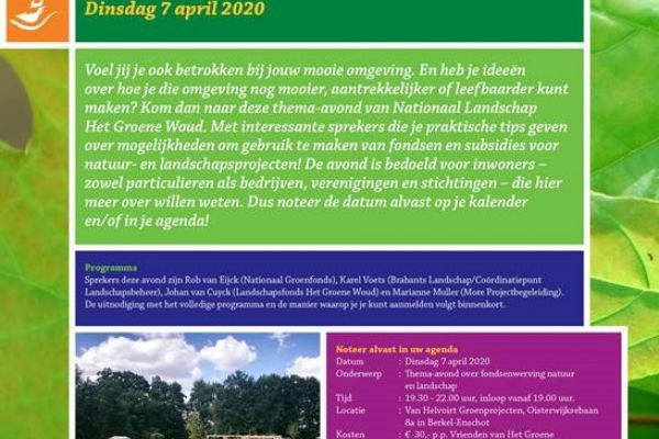 Thema-avond 7 april 2020 Fondsenwerving Natuur & Landschap